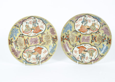 A pair of Daoguang reign mark dishes, thought to be of the period 1821-1950, decorated in