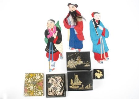 Three Chinese textile and card figures one with real human hair and beard, together with four