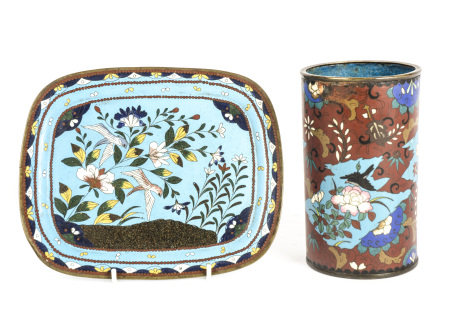 A cylindrical cloisonné vase, decorated with birds flying over flowers , butterflies and bamboo,