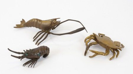 Three brass and bronze sea creatures, in the Japanese decorative arts tradition, the bronze shrimp