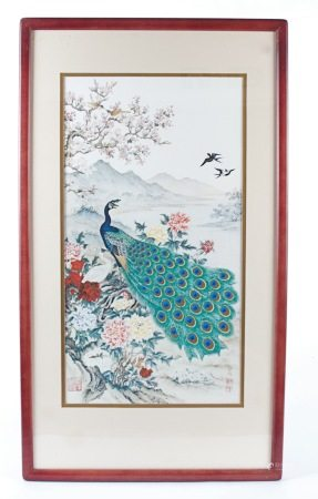 A Chinese print on silk by Wei Tseng Yang, titled 'The Awakening of Spring', depicting a peacock