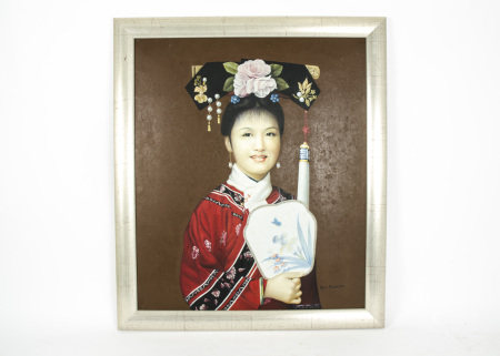 Chinese Oil Portrait Lady in Ceremonial Costume, an oil on canvas portrait of a young woman in