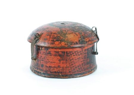 An Indian or Mamluk wooden spice box, with domed top and metalwork hinges, height 16 cm