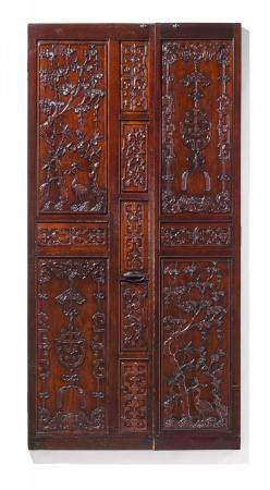 TWO-PART DOOR WITH PLUMS, CRANES AND MEDALLIONS OF GOOD FORTUNE.