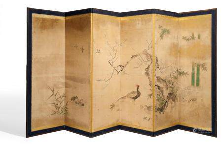 IMPORTANT SCREEN (BYÔBU) WITH BIRDS, PLUMS AND BAMBOO.
