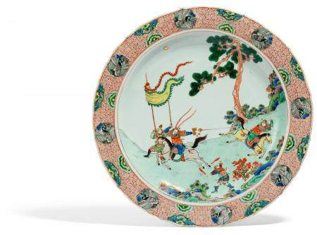 IMPORTANT DISH WITH OPERA SCENE FROM THE STORY OF THE THREE KINGDOMS.