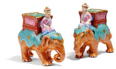 PAIR OF ELEPHANT WITH MAHOUT AND BASKET.