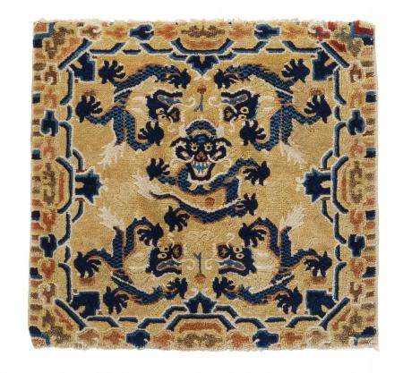 THRONE CARPET WITH FIVE DRAGONS ON YELLOW GROUND.