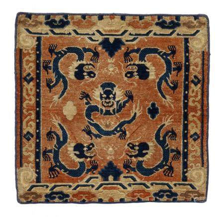THRONE CARPET WITH DRAGON AND TWO SITTING CARPETS WITH CLOUDS AND FLOWERS.
