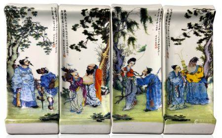 Four ink holder porcelain decorated with figures of tao tradition. China, XX century. 22,50 cm x 8