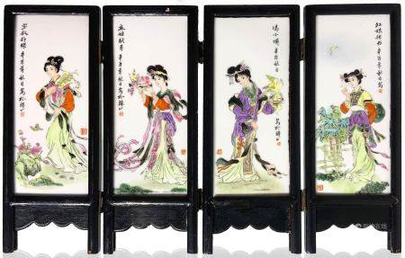 Small monochormatic vase with porcelain plaques depicting court women and wooden frames. China, XX