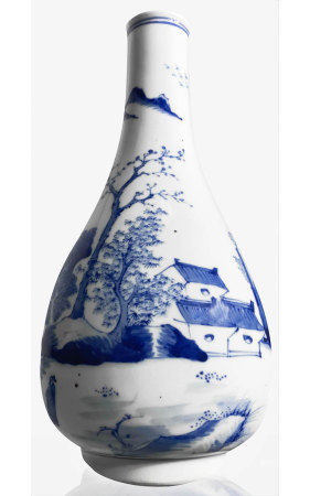 Vase Blue / white porcelain, finely decorated with village and river landscape. China, XX Century.