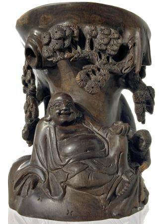 Brush holder rosewood with rich embossed decoration and a relief with Buddha figure with child