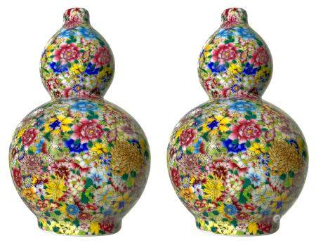 "Couple of small double-gourd vases finely decorated in the style of ""a thousand flowers"". China"