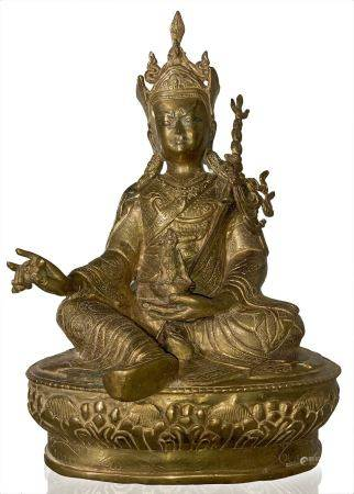in Padmasambhava Bronze sculpture seated on the lotus, with his right hand holding a Vajra and his