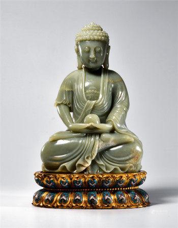 清 白玉释迦牟尼佛坐像