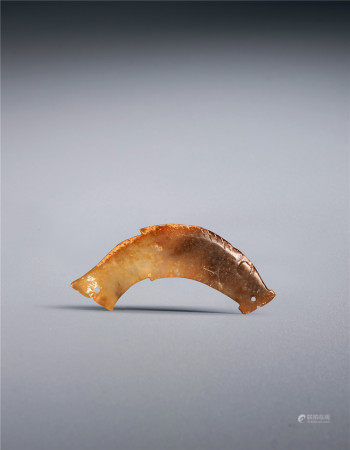 明 白玉红沁鱼