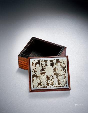 明 嵌白玉群童贺寿图盖盒