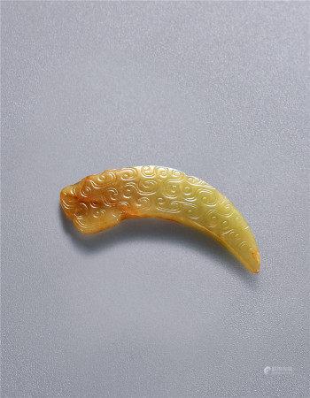 明 黄玉龙纹觿