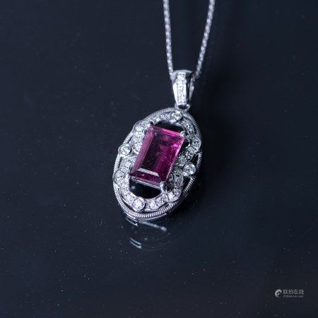 A RUBELLITE TOURMALINE & DIAMOND NECKLACE, AIG CERTIFIED