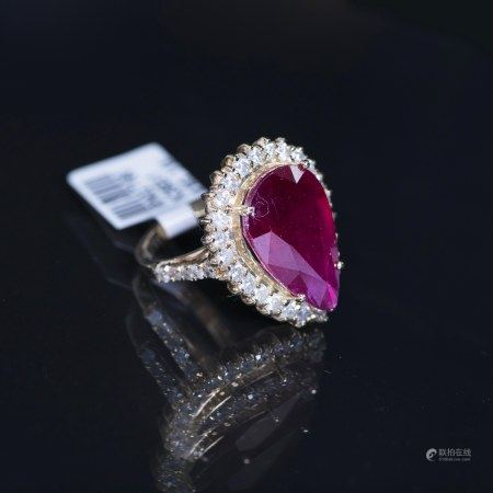 A DIAMOND & RUBY RING, GLA CERTIFIED