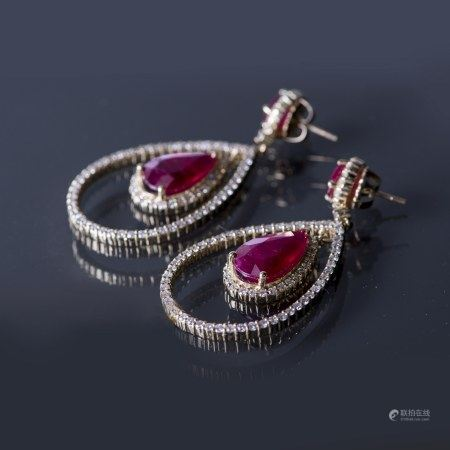 A PAIR OF RUBY AND DIAMOND EARRINGS, GLA CERTIFIED