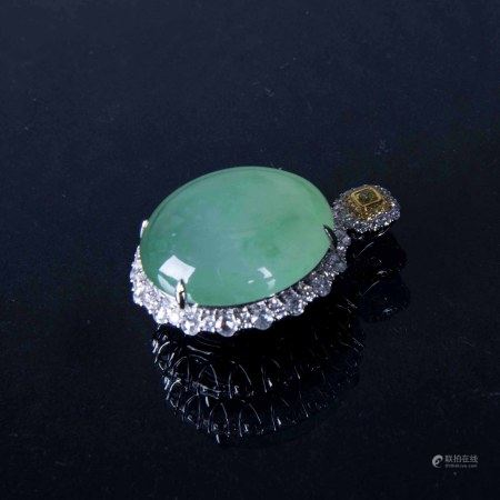 AN IMPERIAL GREEN JADEITE PENDANT, GIA CERTIFICATE
