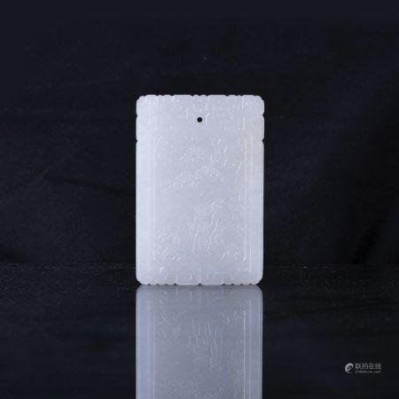 A WHITE JADE RECTANGULAR PENDANT PLAQUE