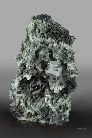 A FINELY CARVED JADE LANDSCAPE BOULDER