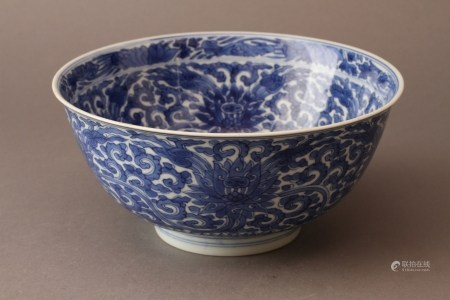 A BLUE AND WHITE LOTUS BOWL,QING DYNASTY, KANGXI PERIOD