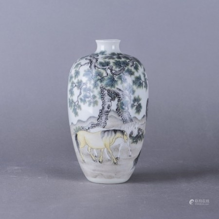A FAMILLE ROSE 'HORSE AND PINE' VASE