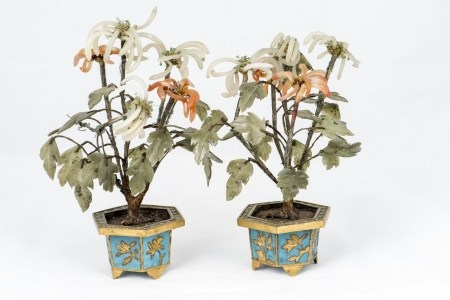 CLOISONNE JARDINIERE WITH HARDSTONE-MOUNTED TREES, PAIR