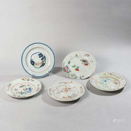 Set of three plates and two porcelain bowls...