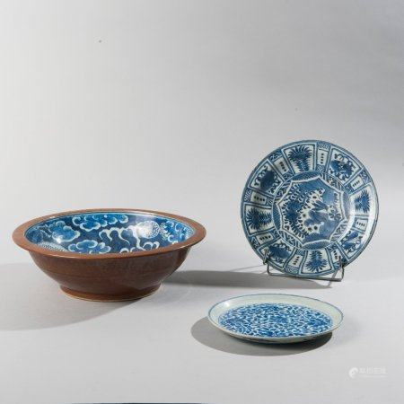 Set consisting of a dish, a plate and a bowl...