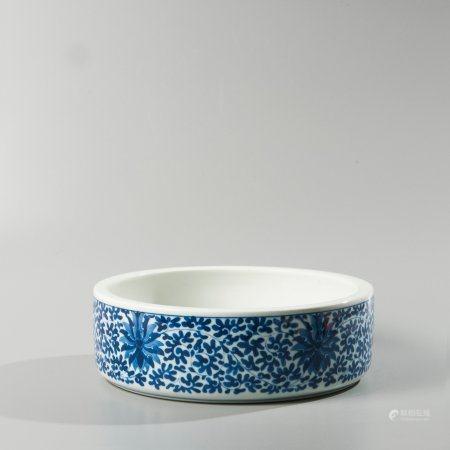 Large porcelain brush washer in blue white...