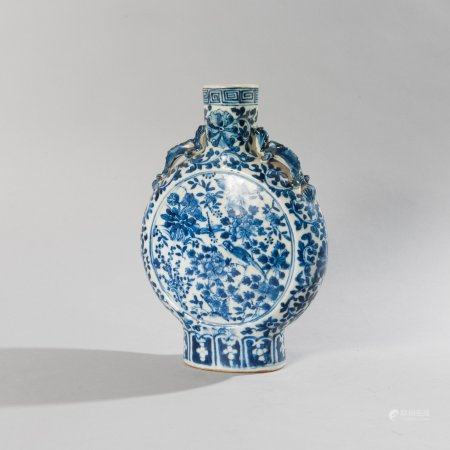 Blue and white porcelain vase in the shape...