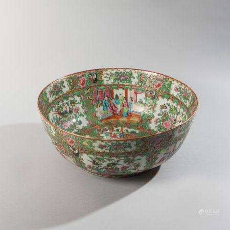 Large porcelain bowl decorated in polychrome...