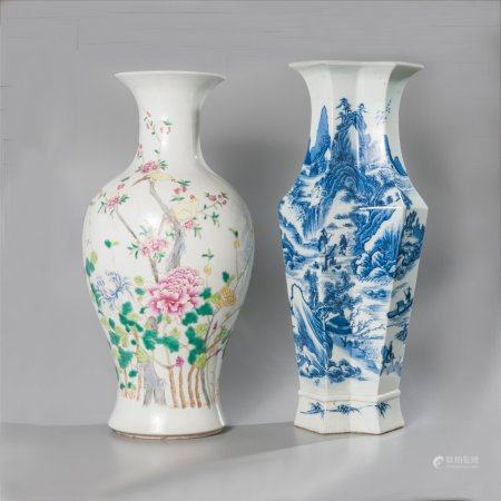 Pair of baluster vases, one with a double...