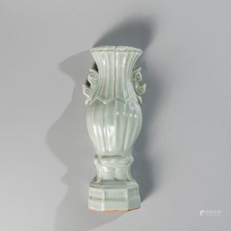 Wall vase in celadon enamelled porcelain,...
