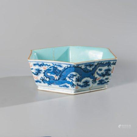 Hexagonal cup in blue and red porcelain decorated...