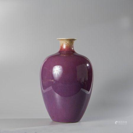 Baluster vase in plum enamelled porcelain...