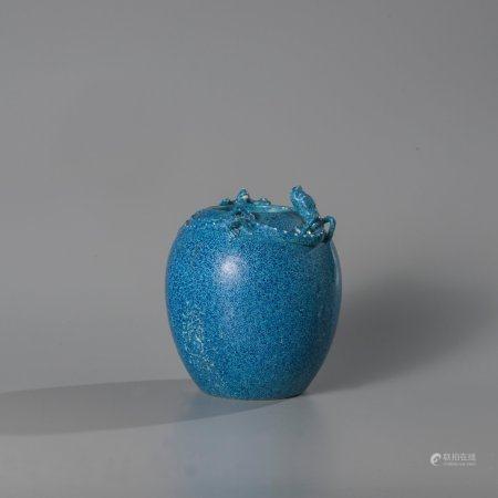 Porcelain water pot with enamel decoration...