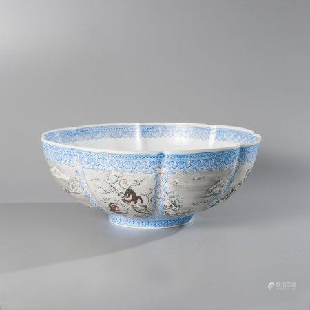 White enamelled porcelain punch bowl with...