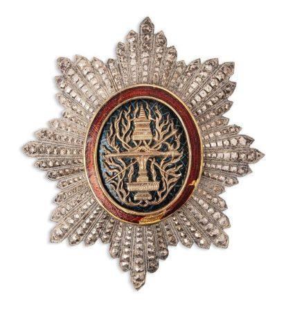 CAMBODGE FIN XIXE-DÉBUT XXE SIÈCLE Plaque grand-croix de l'ordre royal du Cambodge formée d'une