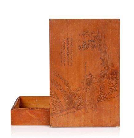 CHINE XIXE SIÈCLE Coffret en cœur de bambou Zhu Huang, à décor de Liu Bao, connu aussi sous le