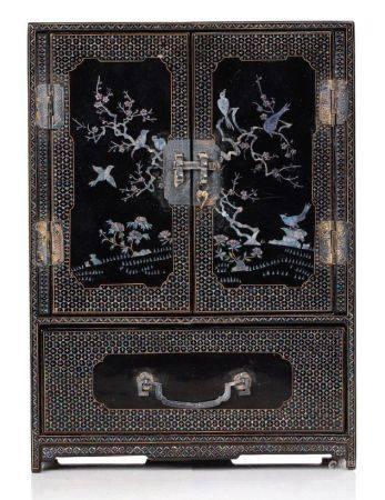 CHINE PÉRIODE QING Petit cabinet ouvrant à deux portes et cinq tiroirs en laque noire et burgau