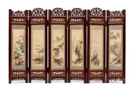 CHINE DEBUT XXE SIECLE Petit paravent de lettré à six panneaux, chacun présentant une peinture