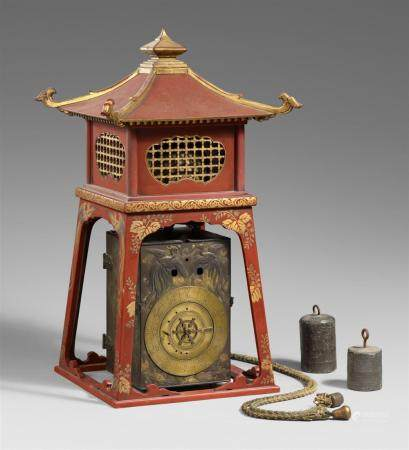 An iron and brass lantern clock (yagura-dokei). 19th century