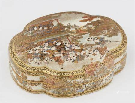 A Satsuma lidded box. Probably Kyoto. Late 19th century