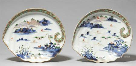 Two Arita awabi-shaped dishes. Late 18th century